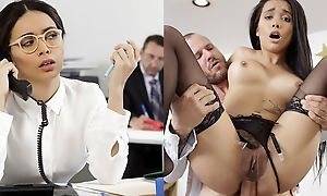 Exotic-looking babe gets fucked hard at their way work meeting
