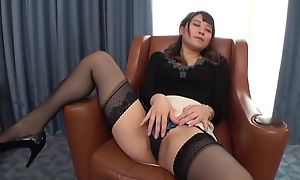 Insatiable Japanese lassie with respect to small interior fucked on a chair