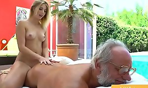 Teen getting Fucked unconnected with Grandpa stopping Knead