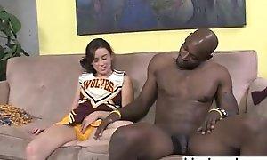 Cheerleader teen interracial blowjob with the addition of footjob