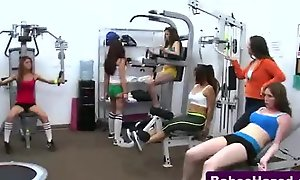 Teen butch babes in gym