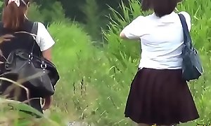 Watched asian teens in unvarying pee