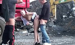 Construction site public gangbang threesome sex orgy with a cute blonde teen girl with nice perky tits and 2 hung guys with big dicks shoving their cocks in the brush mouth deep throat blowjob play and vaginal intercourse facking the brush young close-fisted wet pussy