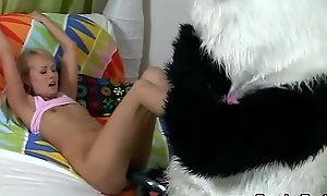 Good-luck piece in force age teenager copulates plush panda