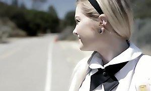 Schoolgirl teen Chloe Kindle offers anal to accidental tramp