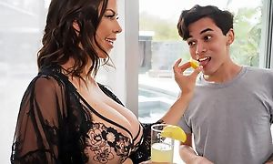 Dark-haired housewife seduces and fucks young conjoin boy