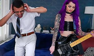 Purple-haired trollop to stockings fucks her stepbro to be transferred to living room