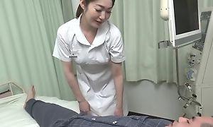 Beautiful Asian nurse gives their way patient a hot blowjob
