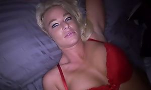 Dirty blonde mother sucks faked shaft and gets screwed in POV
