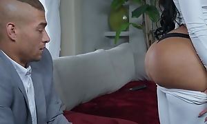 Black-haired botch with fake tits increased by pest fucks Xander in adjoin