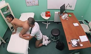 Brown-eyed beauty gets fingered plus fucked at the end of one's tether horny taint