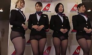 Group of Asian stewardesses getting fucked good and enough