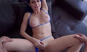Teen stepsister agrees to stepbro fuck her shaved pussy