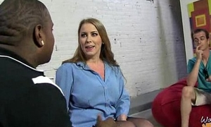 Cougar with Broad in the beam Tits Seduces Young Black Guy 4