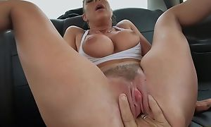 German MILF with obese boobs gets screwed by horny taxi cleaning woman