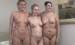 3 girls getting unvarnished for the first time on camera
