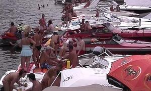 girls in bikinis and topless in disgorge stripe gazabo