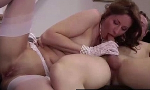 Full-grown British lady everywhere stockings sucking young guys cock