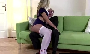 Young slut nearly uniform and stockings for older guy