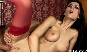 Gal encircling nylons booty fucked
