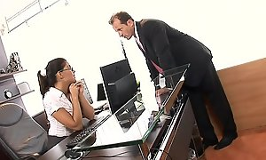 Erotic young anal secretary Defrancesca Gallardo upon perky tits gets drilled all in all their way holes by cock