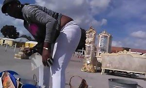 Ebony bend over anal