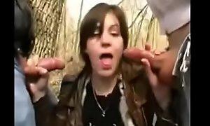 Lea, Sexy milf, gangbanged in a public forest