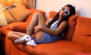 HD Tiny Asian Teen Heather Deep Anal Creampie on Ban Stool Repression Deepthroating Monster Big  Cock