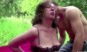 Young Boy Sweet-talk Grandpa to Have sex her Arse together with Cum in Face